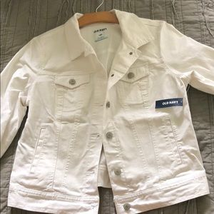 Women's white denim coat.